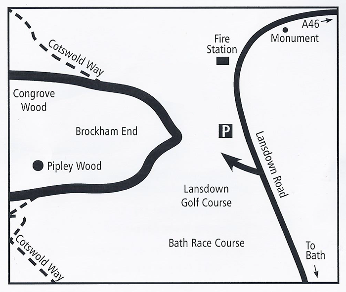 Map to find Pipley Wood from Bath